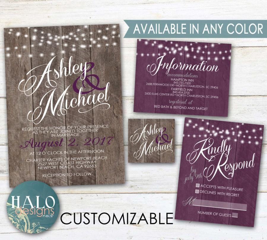 Purple Rustic Wedding Invitations Plum Eggplant Wood Invitation Kit