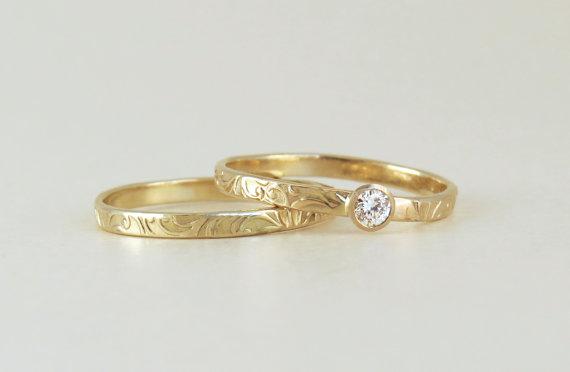 Matching Engagement Ring And Wedding Ring Set Bridal Set Floral