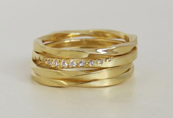 Unique Mobius Ring Set Diamond Mobius Ring Set Unique Wedding