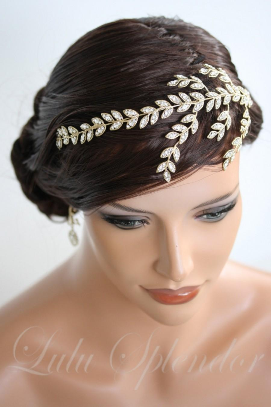 gold headband crystal leaf wedding headband crystal leaves side