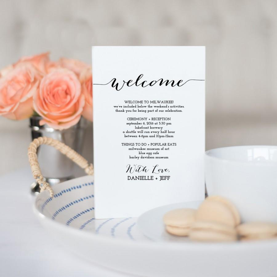 Printable Wedding Itinerary Template Weekend Timeline Destination Welcome Letter