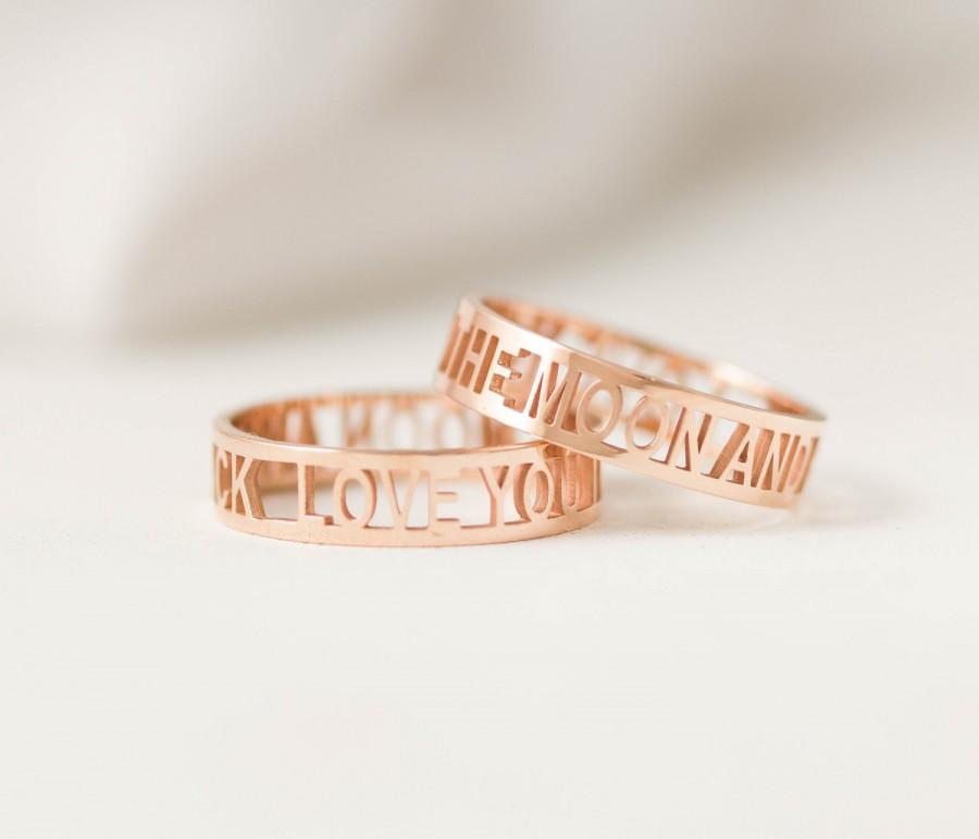 20 Off Custom Mantra Ring Personalized Name I Love You Gift For Her Mom Sister Wedding Band
