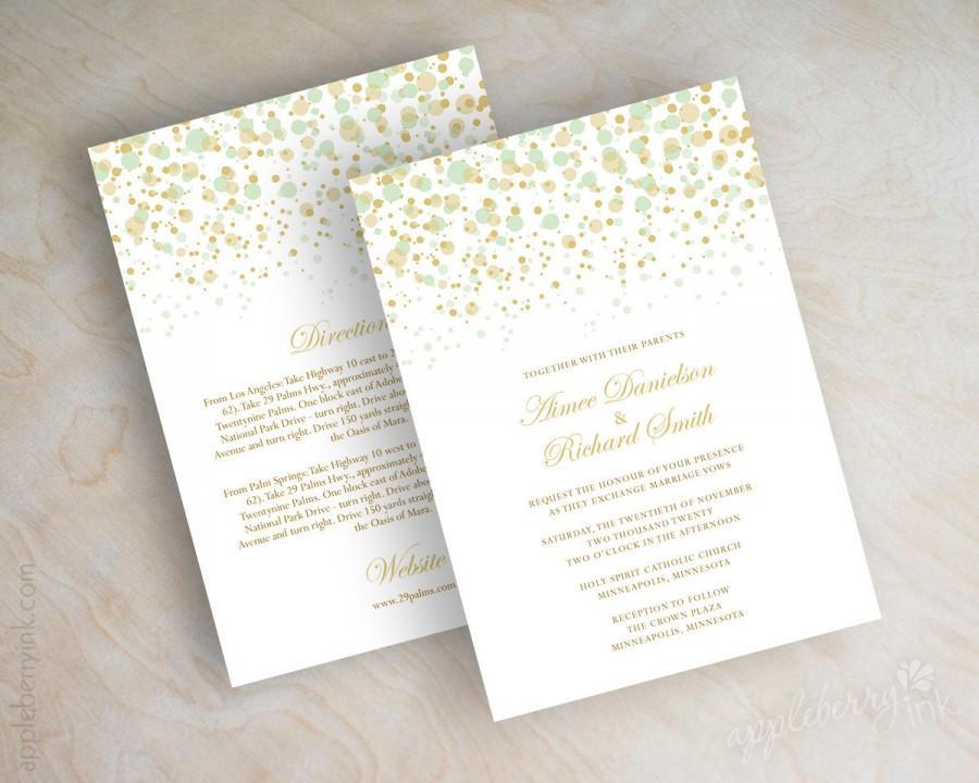 Wonderful Mint Green And Gold Polka Dot Wedding Invitations, Modern, Polka  YA99