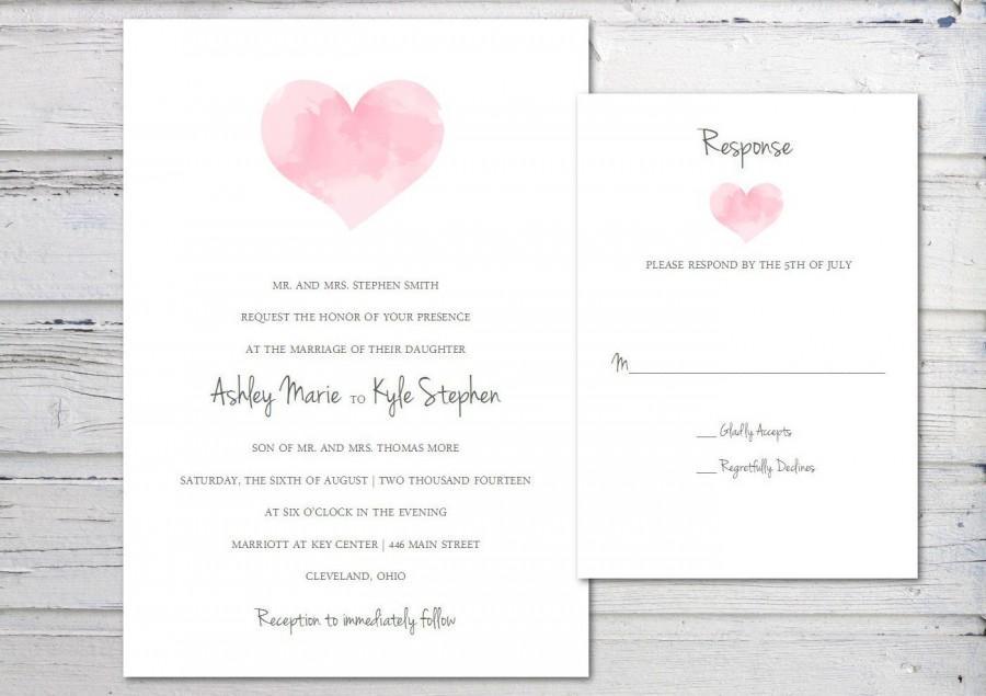 Digital Wedding Invitation Printable Template Watercolor Heart Pink Simple Elegant Pdf