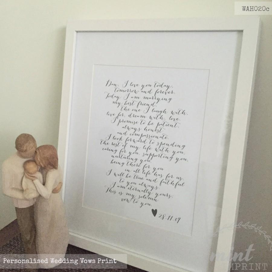 Wedding Vows Print Bride And Groom Prints Sign Wife Gift Husband Anniversary Valentines Day Wah020c