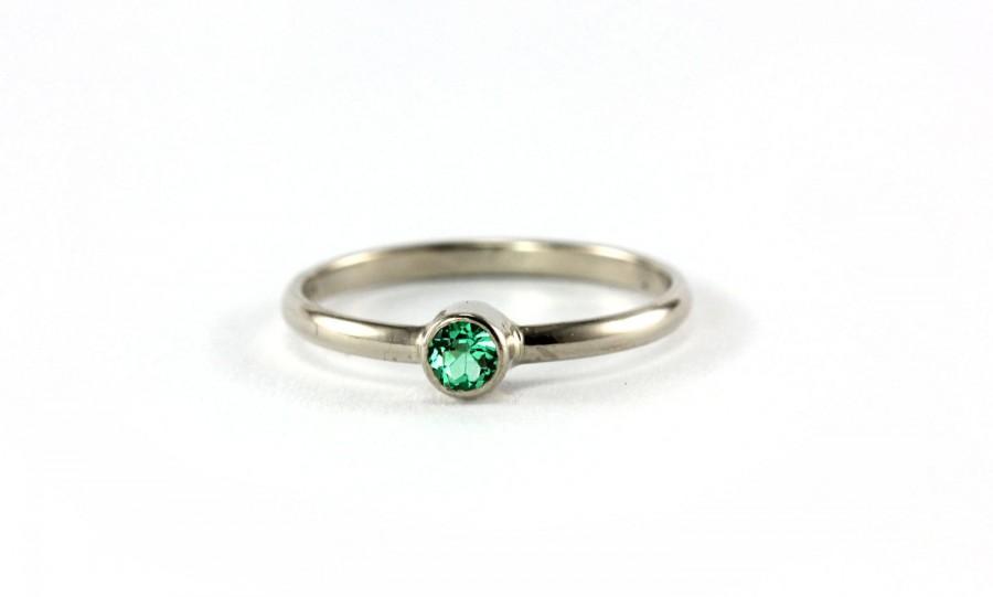 Simple Genuine Colombian Emerald Ring 14k Palladium White Yellow