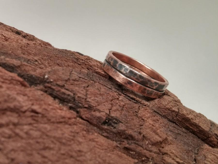 Rustic Men S Copper Wedding Band Distressed Antique Oxidized Finish Hammered Fused Rings Jewelry Fashion Ring Gift For Him