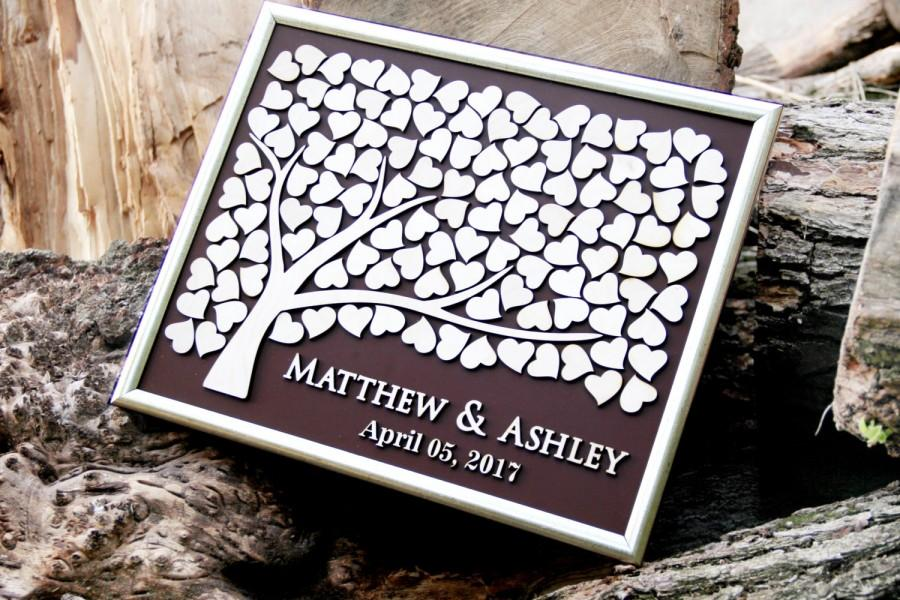 Wedding Guest Book Alternative Personalized Tree Unique Wood Guestbook Hearts Beautiful