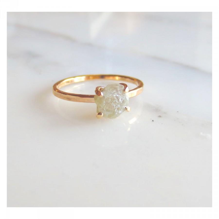 Custom Engagement Ring Raw Diamond Alternative Rough Uncut Stone Women S Wedding Rose Gold Yellow Or White Made To Order