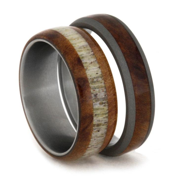 Anium Wedding Band Set Elk Antler Ring With A Matching Wood Nature Rings For S