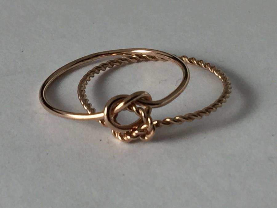 Rose Gold Wedding Band Ring 14kt Half Plain Twist Double Knot Solid