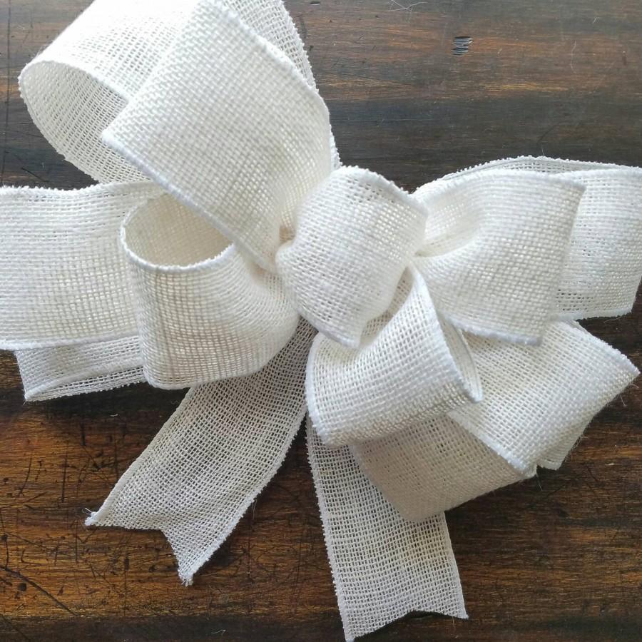 white burlap bow, white wreath bow, big white bow, white wedding