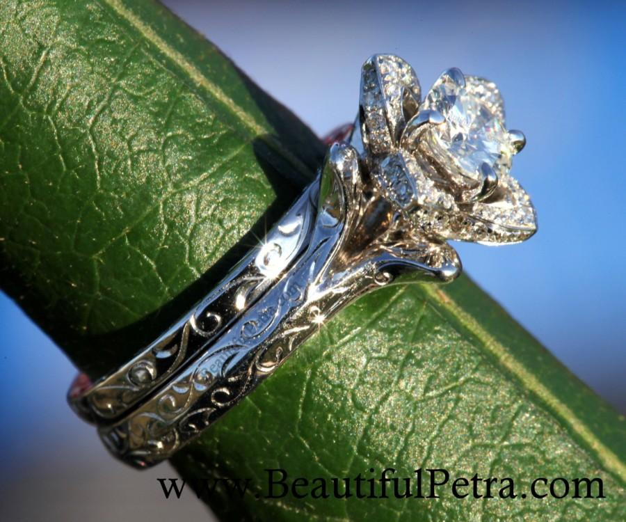 Wedding Set Unique Flower Rose Diamond Engagement Ring And Band Engraving 1 00 Carats 14k White Gold Custom Made Fl09
