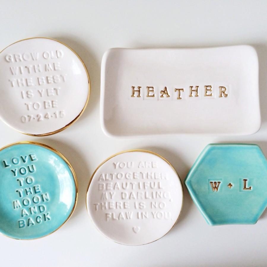 Name Ring Dish Personalized Monogram Gifts Custom Wedding Holder