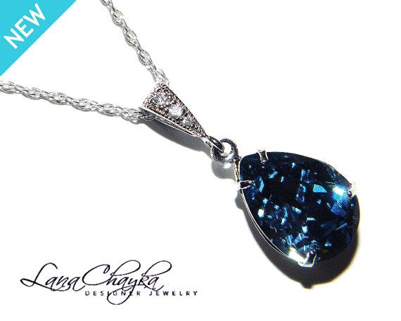 Denim Blue Crystal Necklace Dark Rhinestone Wedding Swarovski Silver Cz Pendant Bridesmaids Jewelry Bridal