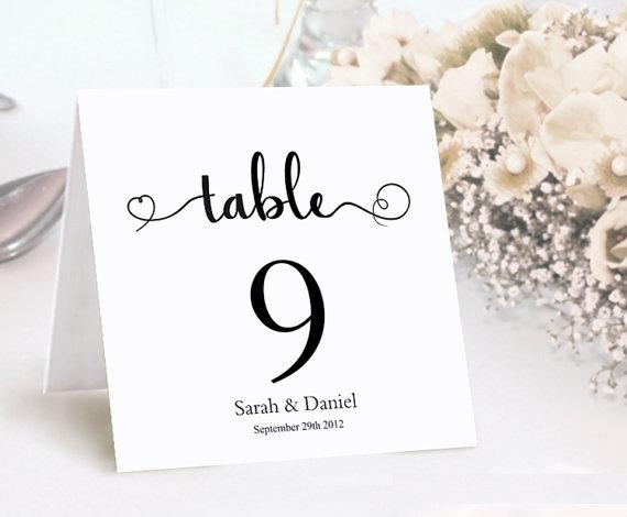 Table Numbers Printable Wedding Card Template Diy Editable Cards Elegant Script Font Tented Black Signs