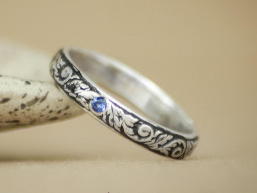 Tendril And Vine Wedding Band With Inset Blue Shire In Sterling Silver Narrow Uni Men S Engagement Ring Pattern