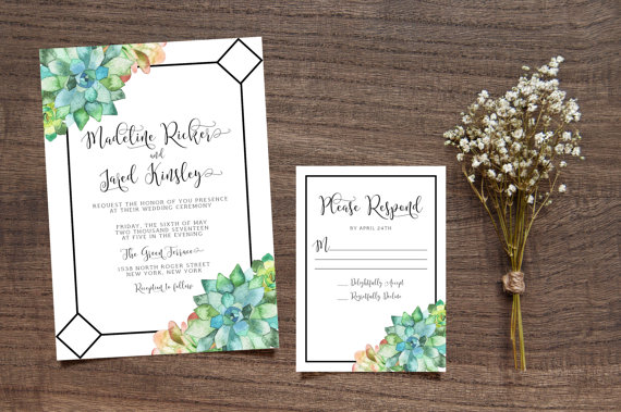 Printable Succulent Wedding Invitation Leafy Calligraphy Invite Green Leaves Bohemian