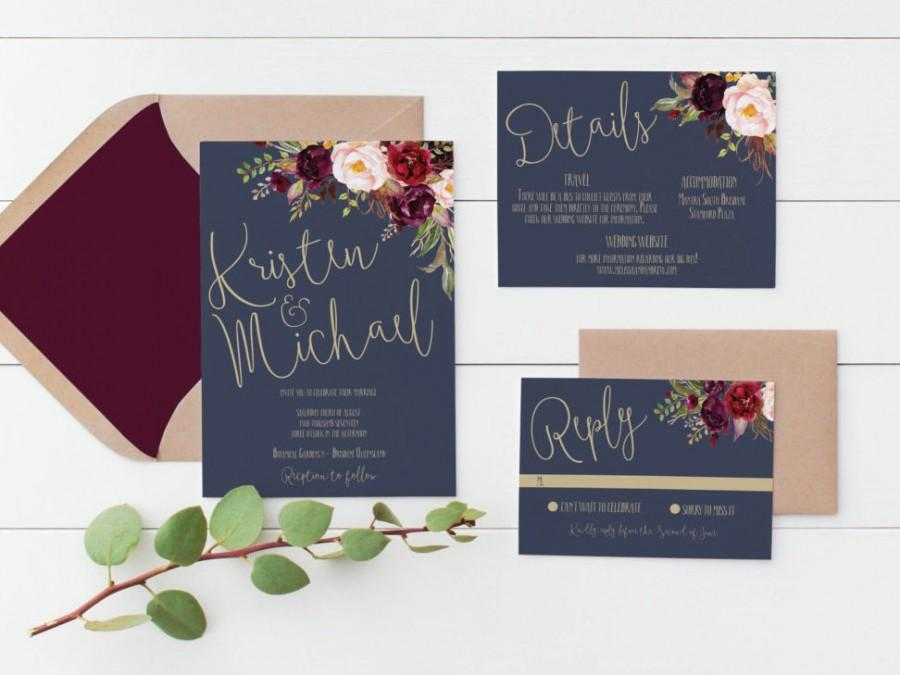 Printable Wedding Invitation Invitations Navy Gold Digital Stationery Fl Watercolor