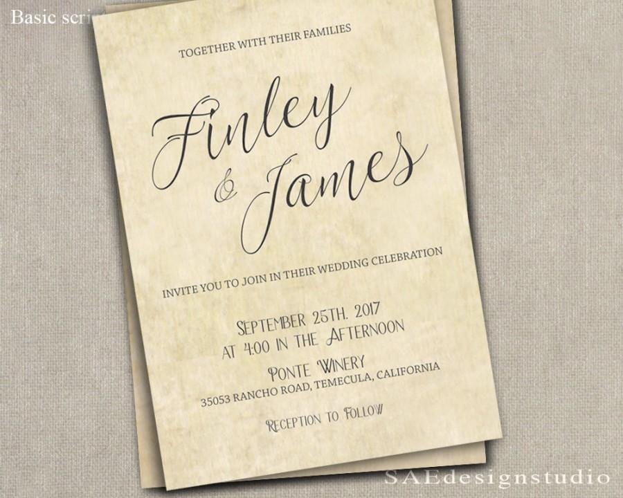 Printed Country Rustic Wedding Invitation Rsvp W Both Envelopes Large Script Or Remove Top Line Font Names Elegant