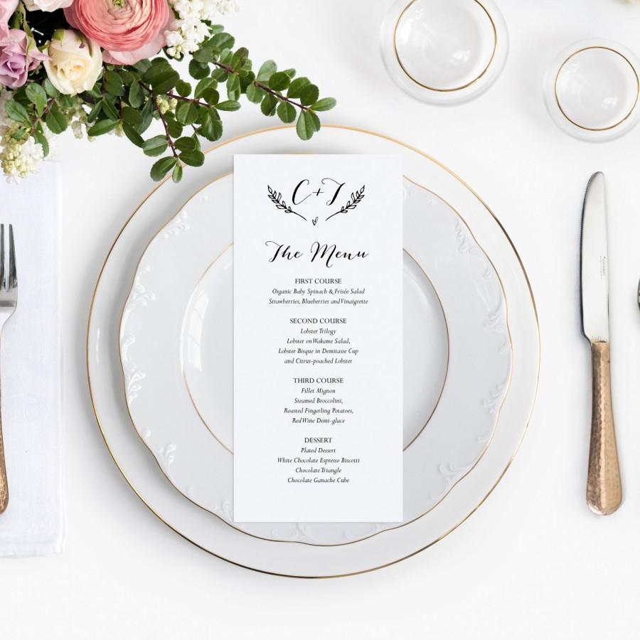Rustic Wedding Menu Template Printable Cards Dinner Pdf Instant