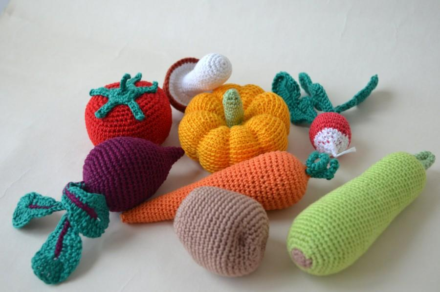 Crochet Knit Vegetables Kitchen Decor Christmas Gift Play Food Soft Toys Handmade Toy Eco Friendly Learning Set Of 8 Pcs
