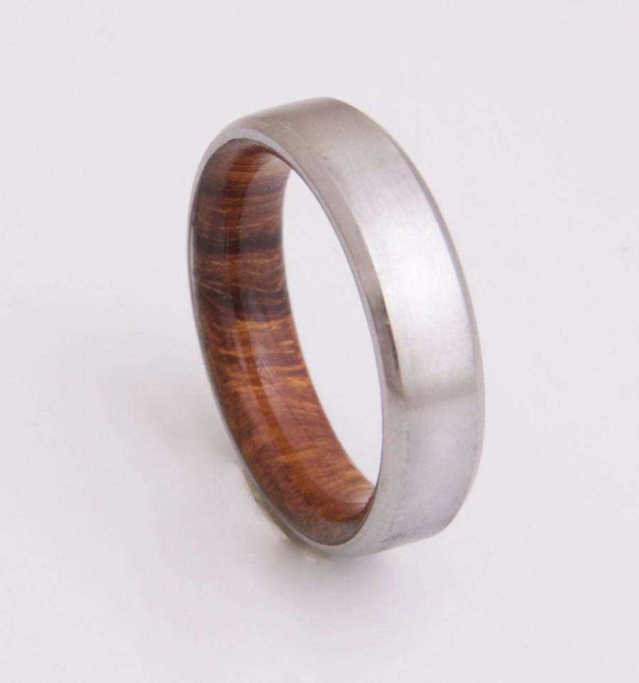 Anium And Iron Wood Mens Rings Wedding Band Men S Beveled Edge