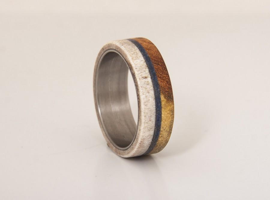 Antler Lapis Wedding Band Mens Ring Engagement Iron Wood Bocote And Lapislazuli