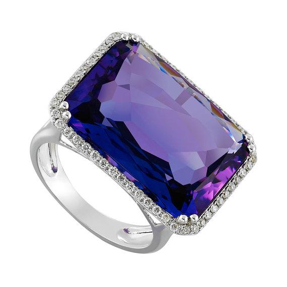 Black Friday SALE 17 00 Carat Amethyst Emerald Cut & Diamond Halo