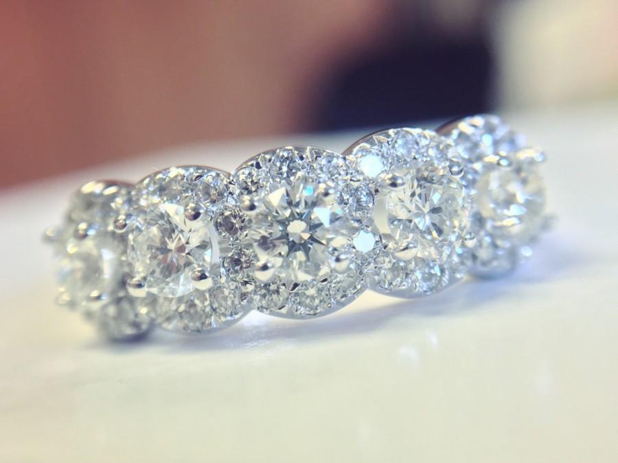 5 Stone Halo Ring Diamond Anniversary Wedding Band Half Eternity 14k Gold