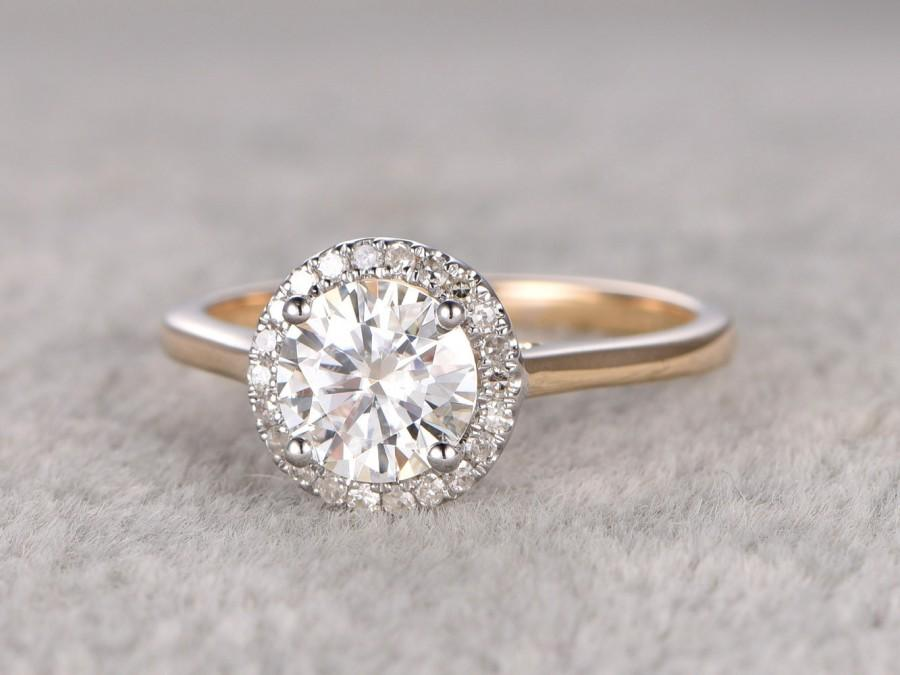 1ct Brilliant Moissanite Engagement Ring Two Tone Plain Gold 14k