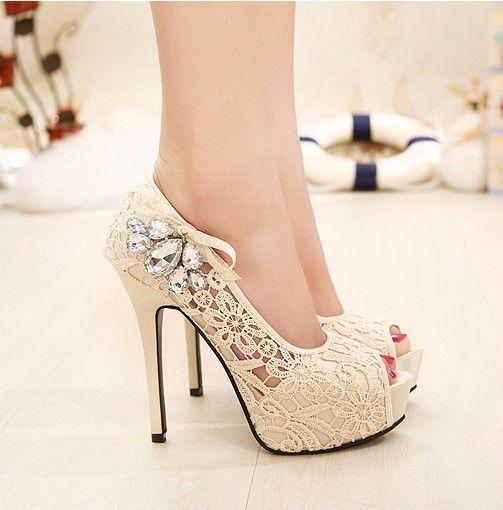 Beautiful Lace P Toe Stiletto High Heels