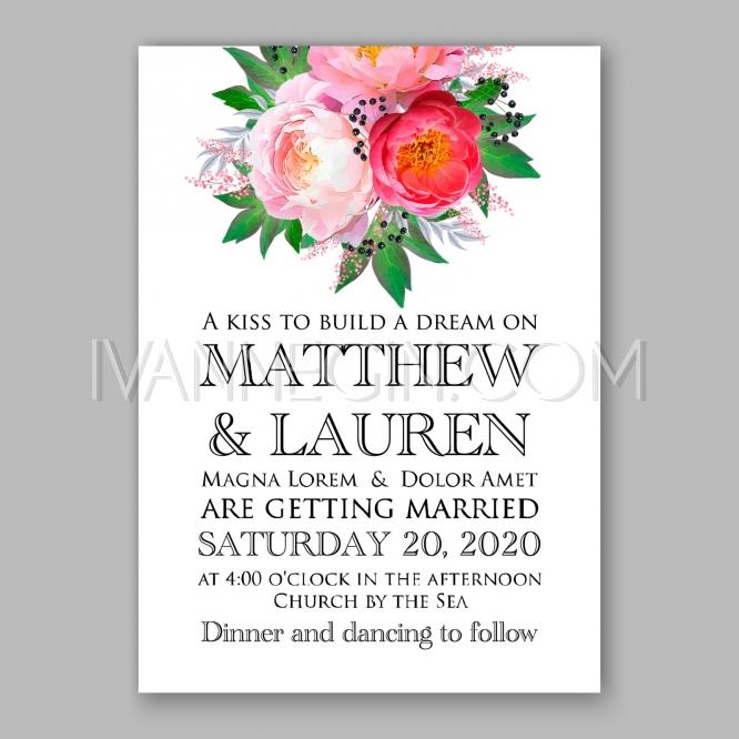 Peony Wedding Invitation Watercolor Fl Vector Unique Ilrations Christmas Cards Invitations Images And Photos By Ivan Negin
