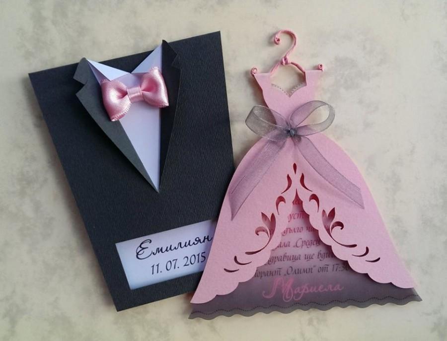 Bridal Wedding Invitations Bride And Groom Tuxedo Invitation Gown Dress Suit