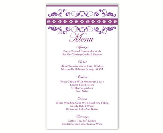 Wedding Menu Template Diy Card Editable Text Word File Instant Purple Eggplant Printable 4x7inch