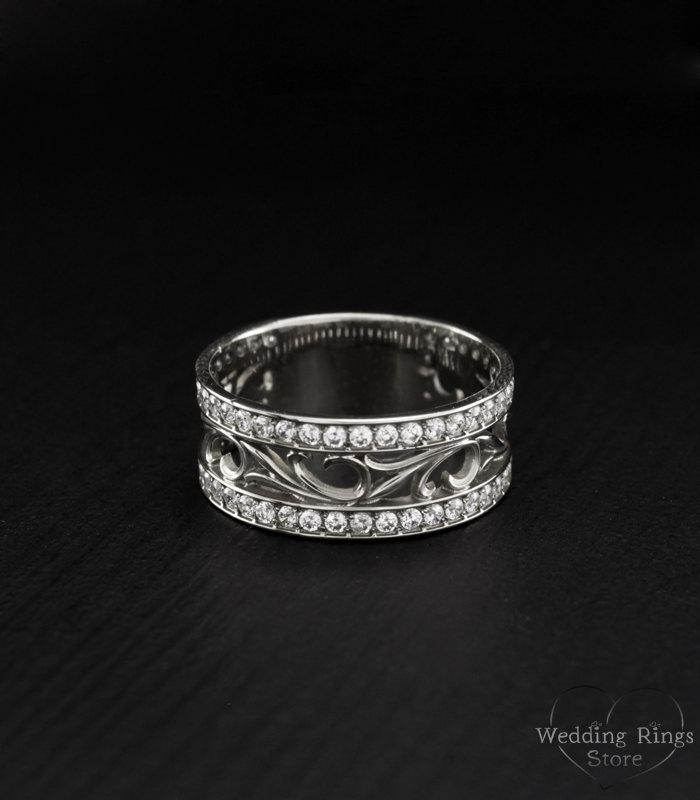 Vintage Style Promise Ring Nature Silver Band Leaves Wide Wedding Anniversary Gift For Women