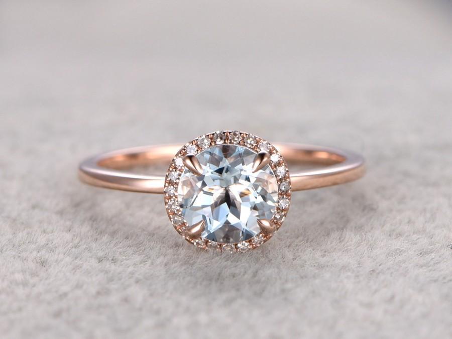 7mm Round Aquamarine Engagement Ring Diamond Wedding Band 14k Rose Plain Gold Gemstone Promise Bridal If Blue Halo