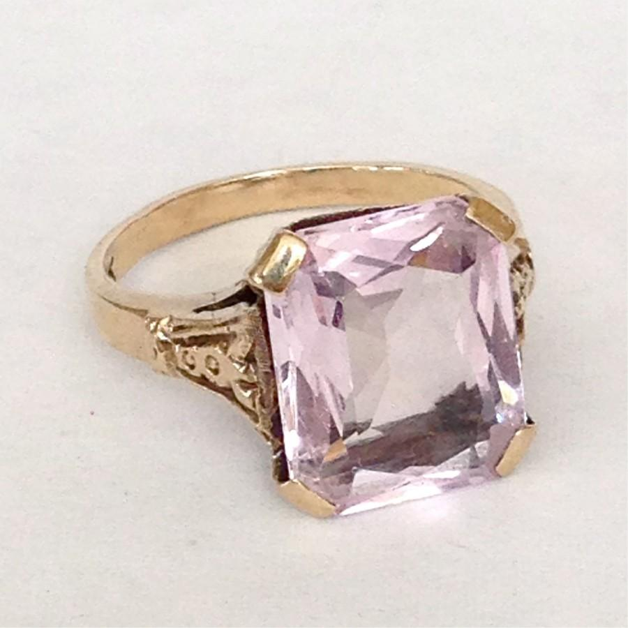 Very best Art Deco Amethyst Ring Antique Large 5ct Stone 10k Gold Setting  TV54