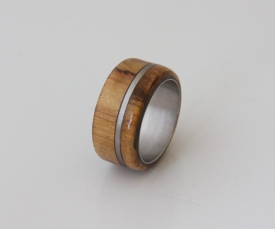 Anium Ring Olive Wood Exotic Hardwood Men S Wedding Band Engagement Alternative Size 9