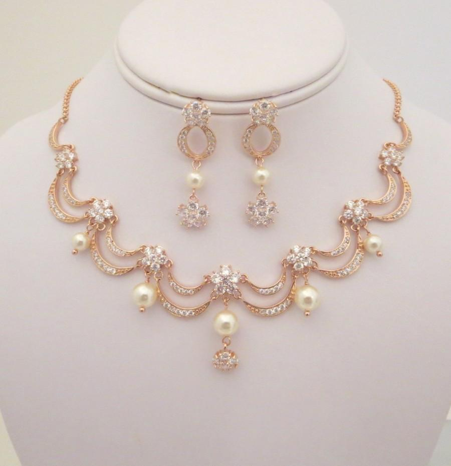 Rose Gold Bridal Necklace Earrings Wedding Jewelry Set Pearl Victorian Inspired