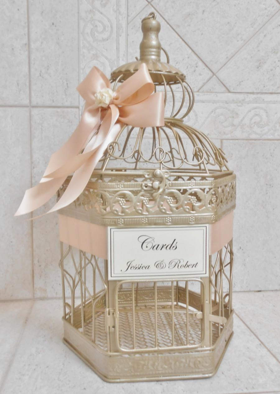 Medium Champagne Gold Wedding Birdcage Card Holder Box Decor Blush