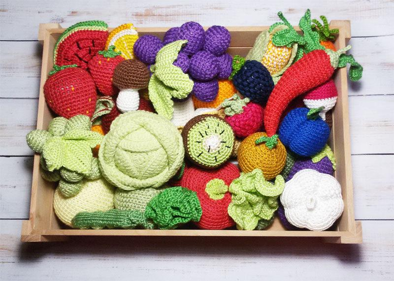 Crochet Vegetables Fruits 50 Pcs Christmas Gift Birthday Play Food Kids Toys Waldorf Baby Soft Toy Educational