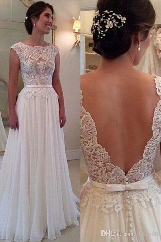 2016 Elegant A Line Wedding Dress With Backless Bateau Sweep Train Lace Vintage Gowns Beach Bridal Gown Dresses Online
