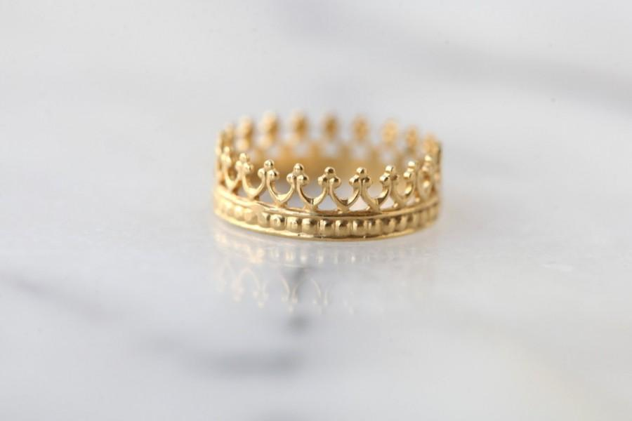Gold Crown Ring Wedding Engagement Band Tea Time Vermeil 22k Over Silver