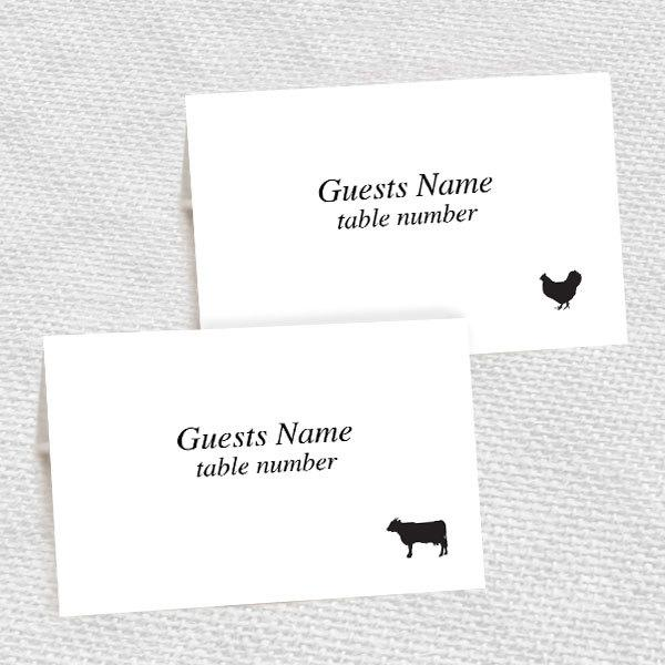 Beef En Fish Pork And Vegetarian Meal Choice Place Cards Printable Editable File Diy Print At Home Wedding Reception
