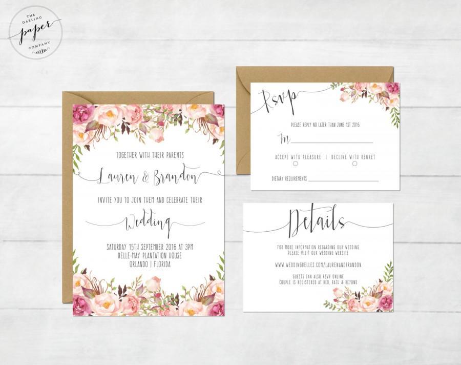 Fl Wedding Invitation Printable Suite Rustic Invite Boho Peonies 1 Set