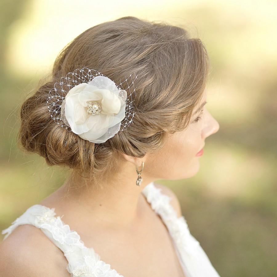 wedding hair flower, champagne wedding hair piece, bridal headpiece