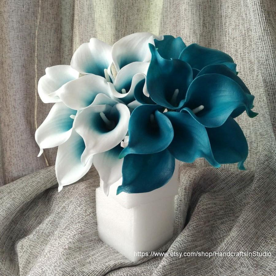 Oasis Teal Wedding Flowers Blue Calla Lilies 10 Stem Real Touch Lily Bouquet Centerpieces Arrangement Decorations