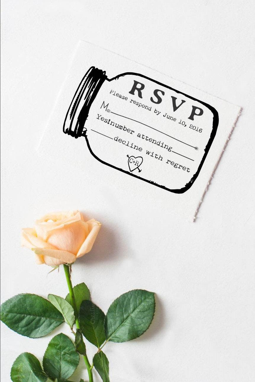 Mason Jar Rsvp Rubber Stamp For Custom Diy Wedding Invitations 5687