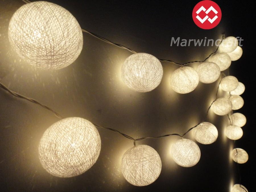35 White Color Cotton Fairy String Lights Party Patio Wedding Floor Table Or Hanging Gift Home Decor Living Bedroom Holiday